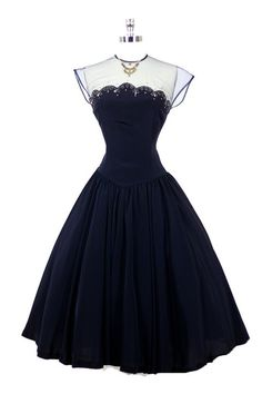 ~1950's Navy Dress~ #dress #vintage #retro #silk #classic #romantic #promdress #feminine #fashion #ballerina