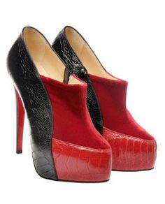 With their signature red soles, these Christian Louboutin heels in velvet and ostrich leg leather are sure to be a hit.