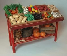 Vegetable Market Stall - 1:12 Scale Dollhouse Miniature Food by njdminiatures, via Flickr