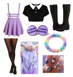 """""""pastel goth #7"""" by ironically-a-strider21 ❤ liked on Polyvore"""