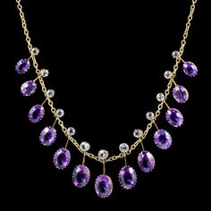 A spectacular antique Victorian necklace featuring a line of fabulous droppers each crowned with a white Topaz stone and a larger Amethyst. Peridot Necklace, Amethyst Jewelry, Men Necklace, Antique Necklace, Antique Jewelry, Vintage Jewelry, Anklet Jewelry, Gems Jewelry, Jewelry Accessories