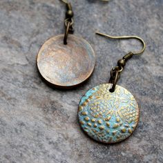 Polymer clay faux metal earrings | Faux metal polymer clay | Flickr