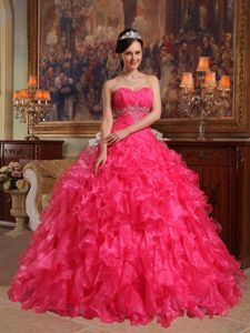 Sweetheart Beading Ruffles Sweet Sixteen Dresses in Red on Discount