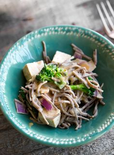 Peanut Soba Noodle Bowl with Tofu & Broccoli, an easy vegan dinner bowl, rich in protein and flavor.