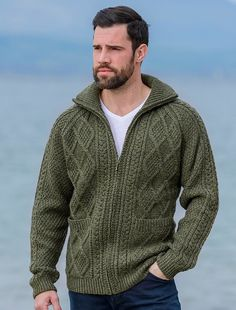 Direct from the Aran Islands comes our hand knit zip cardigan Made from 100 merino wool this is a mid-weight cardigan with features the traditional Aran cable and diamond stitch patterns which are said to represent the fisherman s ropes Mens Knitted Cardigan, Mens Shawl Collar Cardigan, Zip Cardigan, Pullover Hoodie, Cardigan Outfits, Sweater Knitting Patterns, Hand Knitting, Men Sweater, Cardigan Fashion
