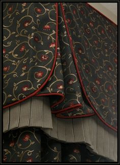 close up of valance detail, corner pleat, multi pleat layers , corded edges.