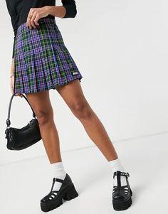 Minga London mini pleated skirt in blue plaid | ASOS Pleated Midi Dress, Blue Sparkles, Sheer Chiffon, Blue Plaid, Stretch Denim, Clothes For Women, Women's Clothes, Latest Trends, Winter Fashion