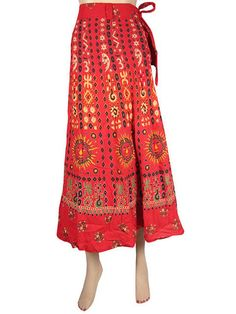 Indian Boho Cotton Wrap Skirt Gypsy Skirt Sun Moon Print Red Long Skirt 36"