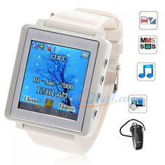 Top deals on line r us - we can get you anything you need.  AK810 Watch Phone 1.5 inch Touch Screen Single SIM with Bluetooth MP3 MP4 (White) HighLight:  Tri Band: GSM900/1800/1900MHZ Single sim card single standby Dedicated Touch Keyboard MP3/MP4/Bluetooth function supported Type Color Frequency Sims & Standby Product Weight Memory Slot Language  Watch Phone White GSM900/1800/1900MHZ Single sim card single standby 52g Support TF card extend to 8GB max…