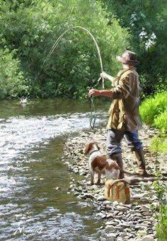 Trademark Global The Macneil Studio 'Fishing The Shallows' Canvas Art - 24 x 32 Fly Fishing Tips, Deep Sea Fishing, Fishing Girls, Gone Fishing, Best Fishing, Trout Fishing, Kayak Fishing, Fishing Knots, Fishing Tackle