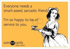 Everyone needs a smart assed sarcastic friend