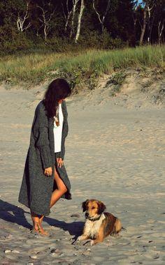 Szary długi sweter handmade oversize
