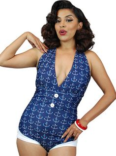 "Women's ""Anchor Print"" Front Bow One Piece Swimsuit by Pinky Pinups (Blue)"