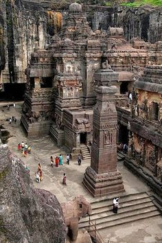 """Rock cut Buddhist temples in central China. """"Rock cut"""" means it was carved into the existing rock face. Technically, it's a piece of sculpture."""