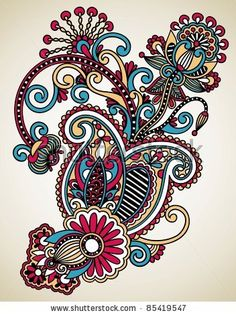Hand draw line art ornate flower design. Hand draw line art ornate flower design. Motif Paisley, Paisley Art, Paisley Design, Paisley Pattern, Flower Design Vector, Flower Designs, Motifs Textiles, Drawing Hands, Plant Drawing
