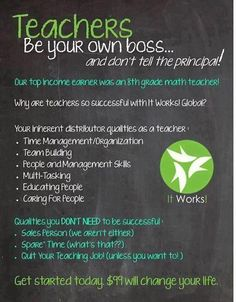 Teachers! I know a lot of you have been having to use your own money to supply your classrooms for the year. What if you could invest $99 and be able to earn it back, as well as earn enough to get all the supplies for your classroom? If you want to know how, please msg me! samitworks@yahoo.com
