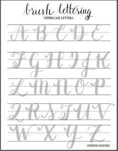 Brush Lettering Uppercase Letters Worksheet by Destination Decoration