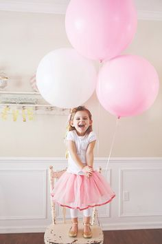 large pink birthday balloons