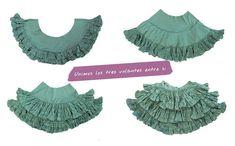 Cómo hacer la falda de un vestido de flamenca. Parte III del tutorial ¿Cómo hacer un vestido de flamenca? en el que se muestra el paso a paso Dress Patterns, Sewing Patterns, Belly Dance Costumes, Dance Dresses, Sewing Tutorials, Fabric Crafts, Sleeve Styles, Lace Skirt, Dress Skirt