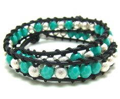 Leather Beaded Bracelet  Turquoise and Silver by AlexisLjewelry