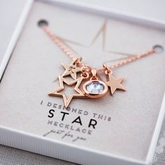 Beautiful rose gold star personalised necklace. Exclusivity by Design can create a unique piece of jewellery for you.