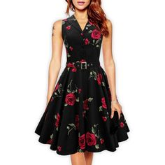 $20.41 Retro Style Turn-Down Collar Sleeveless Flower Pattern Women's Dress