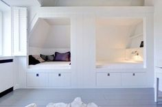 pull out under bed drawers shelves and light, 18 inches of space between beds for shelves facing ot for storage boxes and small bins Girl Room, Girls Bedroom, Bedroom Decor, Under Bed Drawers, Shared Rooms, Attic Rooms, Awesome Bedrooms, Kid Beds, Room Inspiration