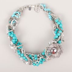Braid Necklace Blue