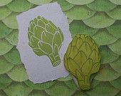 Artichoke Rubber Stamp Hand Carved