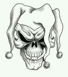 joker skull tattoo design - tattoo drawing designs on paper Free Tattoo Designs, Skull Tattoo Design, Skull Tattoos, Joker Tattoos, Skull Stencil, Tattoo Stencils, Skull Art, Jester Tattoo, Clown Tattoo