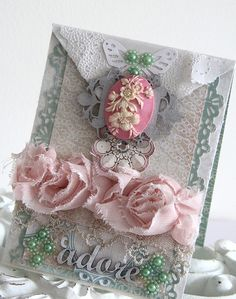 Card by Emeline Seet Handmade Card Making, Handmade Books, Pinterest Cards, Shabby Chic Cards, Embossed Cards, Beautiful Handmade Cards, Heartfelt Creations, Card Making Inspiration, Thing 1