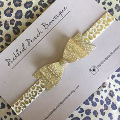 Gold Glitter Bow Headband on Leopard by pickledpeachbowtique