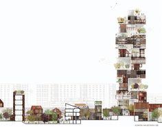 Culture Kasbah (Törnrosen Tower), Malmö by Lundgaard & Tranberg Arkitekter Architecture Graphics, Green Architecture, Architecture Student, Concept Architecture, Architecture Drawings, Architecture Design, Chinese Architecture, Planer Layout, Tower Design