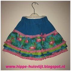flamingo skirt: free pattern strokenrokje met flamingo's gratis patroon