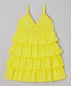 Look what I found on #zulily! Lemon Ruffle Babydoll Dress - Toddler & Girls by Dreamstar #zulilyfinds