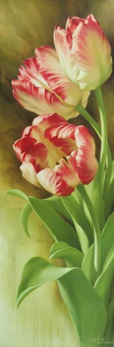 Sprins's Parrot Tulips I, 2007г., 150X50, х/м, Размещено на сайте 20.05.2012, © Copyright 2012, худ. И.Е.Левашов, Арнем (Нидерланды)