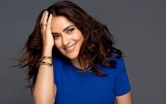 Download wallpapers Salma Hayek, photoshoot, blue dress, smile, portrait, American actress, American celebrities