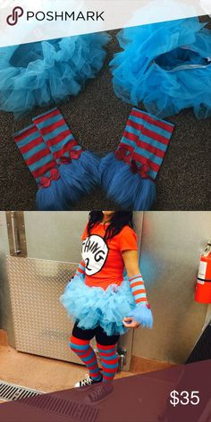 Thing one thing two Pieces of thing one thing two costume I do NOT have shirts or socks. But you can start with this to make your own costume  Tutu's made by  be wicked and spirit Halloween. Used once. Other