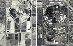 Disneyland aerial views 1955 and 2011.