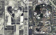 Disneyland aerial views 1955 and 2011.