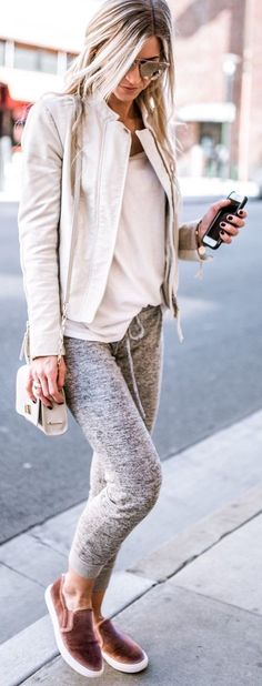 #summer #outfits White Jacket + White Tee + Grey Skinny Pants