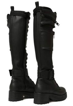 Current Mood Obsidian Pocket Combat Boots will have ya winnin' every battle. These sikk combat boots have lil zippered pockets on the sides, a lace-up front, and buckles at the ankles with inside zipper closures. High Heel Boots, Heeled Boots, Shoe Boots, High Heels, Cute Shoes, Me Too Shoes, Womens Gothic Boots, Over The Knee Boot Outfit, Accesorios Casual