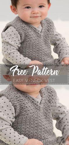Crochet Flowers Easy Easy V-Neck Vest – Free Crochet Pattern – Crochet Love Baby Boys, Baby Boy Vest, Baby Boy Sweater, Kids Boys, Boy Crochet Patterns, Crochet Cardigan Pattern, Baby Patterns, Crochet Ideas, Crochet Vests