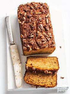 Sweet potato bread with pecans is a great way to enjoy bread while still eating healthy! Sweet potato bread with pecans is a great way to enjoy bread while still eating healthy! Paleo Dessert, Paleo Sweets, Healthy Desserts, Dessert Bread, Sweet Potato Pecan, Sweet Potato Recipes, Paleo Sweet Potato Bread Recipe, Paleo Grubs, Sans Gluten