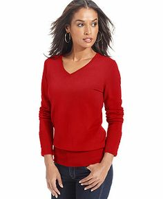 JM Collection Long-Sleeve V-Neck Sweater