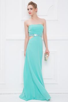 Sheath/Column Strapless  Sleeveless  Floor Length  Chiffon  Lace Applique  Zipper Up