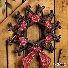 Horseshoe Wreath with Bandanna. Recycle old horse shoes.