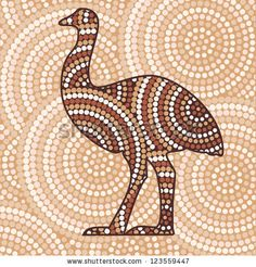 Abstract Aboriginal Emu dot painting in vector format. by Marina Riley, via ShutterStock