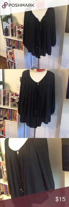 """Sheer Black Tunic ((Can Fit sz 1X to 3X)) Above is a gorgeous, sheer chić, bohemian tunic with rhinestones featured at the sleeve.-FYI-This top has a neck tie, pleated in the front and back and has stretch band at the end of the sleeve to adjust the length. The style of this top is waterfall, meaning the front and back are the same length and longer than the sides. I am 5'7, a size 18/20 and the longest part of the tunic hits me below my bottom.  Size: 3X Measurements: 31.5"""" from shoulder to…"""