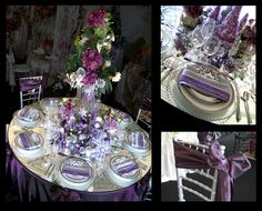 Purple and silver wedding table scape